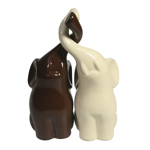 Фигура декоративная Пара слонов цвет: молочный+шоколад глянец L6.5W12H16см - фото 69632