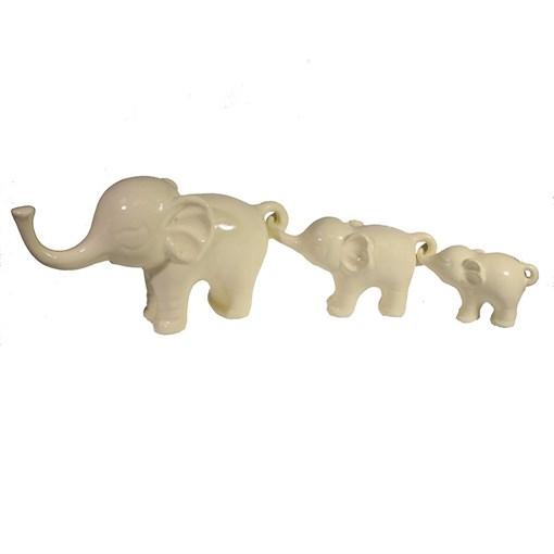 Фигура декоративная Семья слонов цвет: слоновая кость L57W15H8.5см - фото 69633