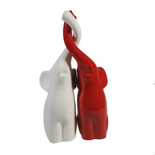 Фигура декоративная Пара слонов цвет: белый+красный глянец L9W14H26см - фото 69637