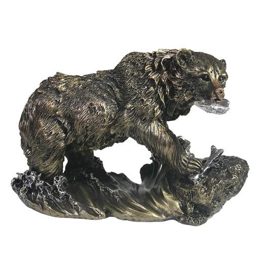 Фигурка декоративная Медведь цвет: бронза L26W11H16см - фото 69644