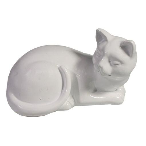 Фигура декоративная Кошка белая L17W11H10.5см - фото 69692