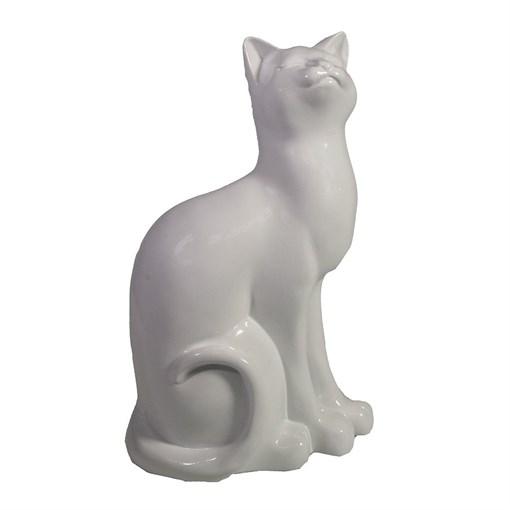 Фигура декоративная Кошка белая L12W9H20см - фото 69694