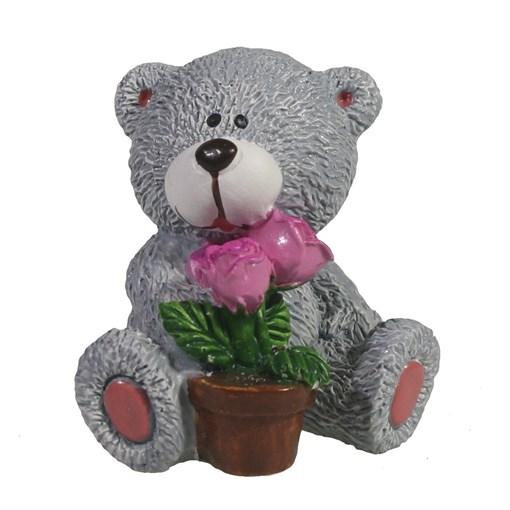 Фигура декоративная Мишка с горшком цветов увет: серый L5W5H5.5см - фото 69707