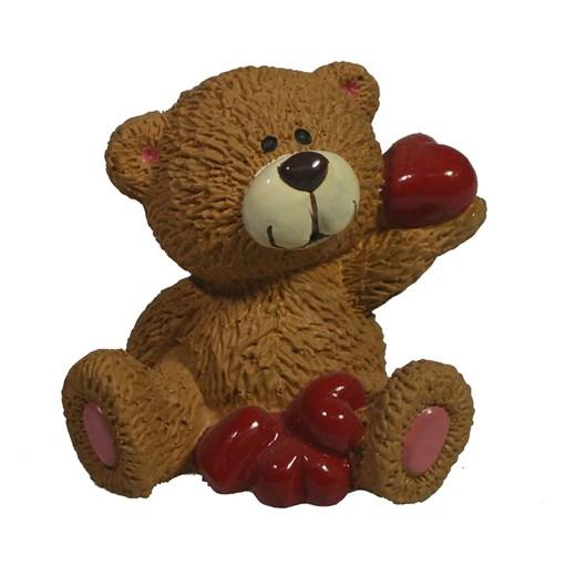Фигура декоративная Мишка с сердечками бежевый L5W5H5.5см - фото 69715
