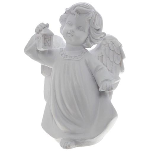 Фигура декоративная Ангел Белый с фонариком  L11W8H15cм - фото 69795