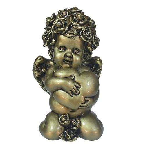 Фигука декоративная Ангел Сердечной привязанности цвет: золото L12W9H19см - фото 69800