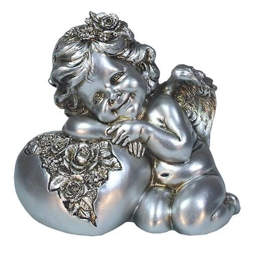 Фигука декоративная Ангел Сердце роз цвет: серебро L15W9H13см - фото 69802