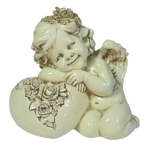 Фигука декоративная Ангел Сердце роз цвет: слоновая кость L15W9H13см - фото 69803