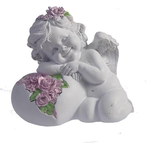 Фигурка декоративная Ангел Сердце роз цвет: белый L15W9H13см - фото 69804