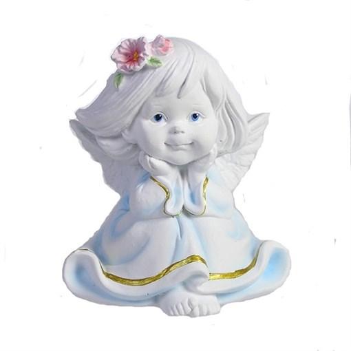 Фигура декоративная Малышка-ангел с цветами в волосах L7W8H9см - фото 69805