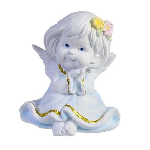 Фигура декоративная Ангел с двумя цветочками в волосах L7W8H9см - фото 69806