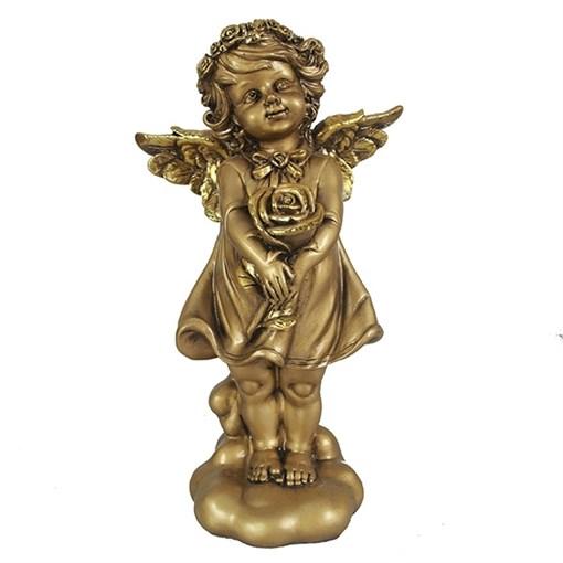 Фигурка декоративная Ангелочек счастья цвет: золото L14W9,5Н25см - фото 69808