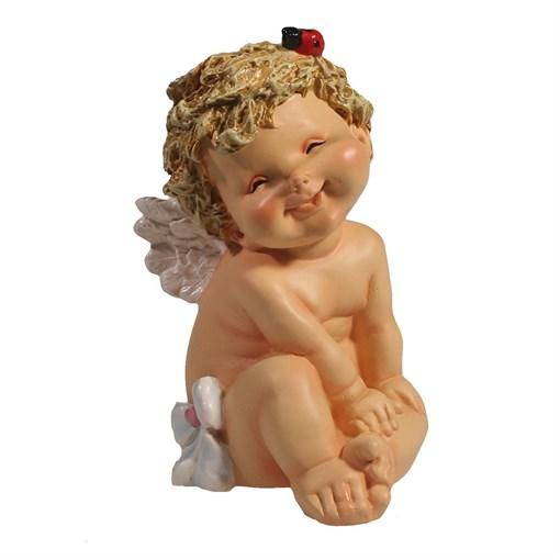 Фигура декоративная Ангелочек с божьей коровкой L10W9H15см - фото 69810