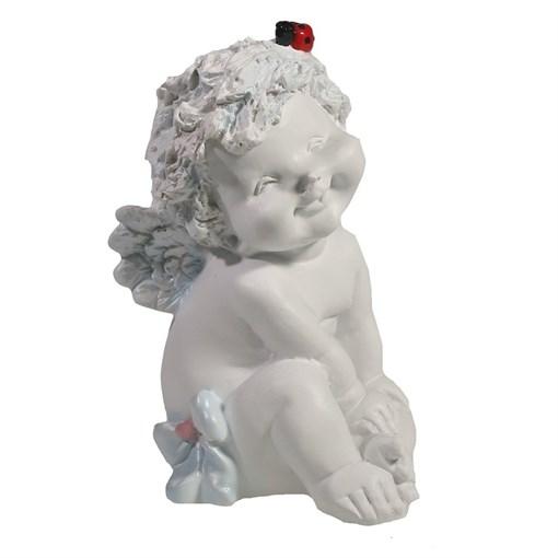 Фигура декоративная белый Ангелочек с божьей коровкой L10W9H15см - фото 69811
