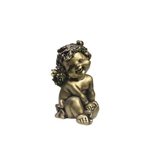 Фигура декоративная золотой Ангелочек с божьей коровкой L10W9H15см - фото 69812