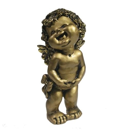 Фигура декоративная Счастливый ангелочек золотой L7W8H18см - фото 69815