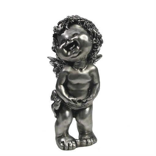 Фигура декоративная Счастливый ангелочек серебристый L7W8H18см - фото 69816