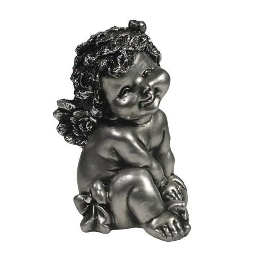 Фигура декоративная Ангелочек с божьей коровкой серебристый L10W9H15см - фото 69820