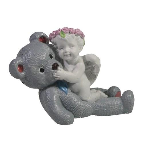 Фигура Ангел с плюшевым медведем L7W3.5H5см - фото 69830