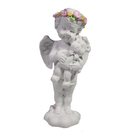 Фигура декоративная Ангел с мишкой L5W6H12см - фото 69834