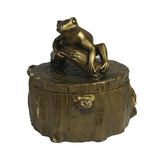 Шкатулка Лягушка на пне (золото) L11W11H11 - фото 69841