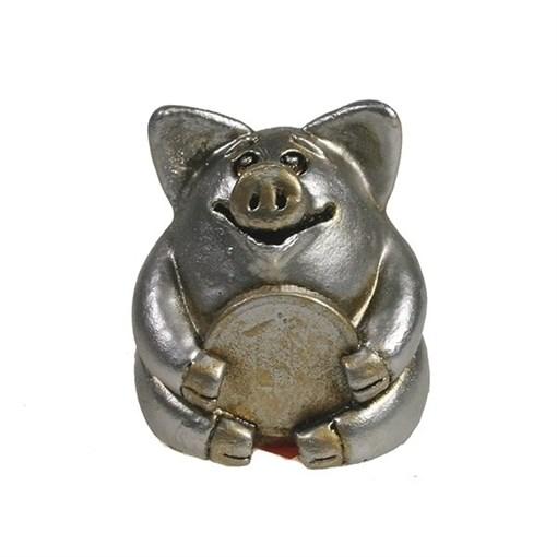 Фигура декоративная Свинка рубль бережет серебристая L4.5W5H5см - фото 69885