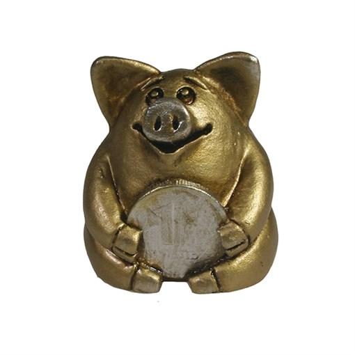 Фигура декоративная Свинка рубль бережет золотая L4.5W5H5см - фото 69900