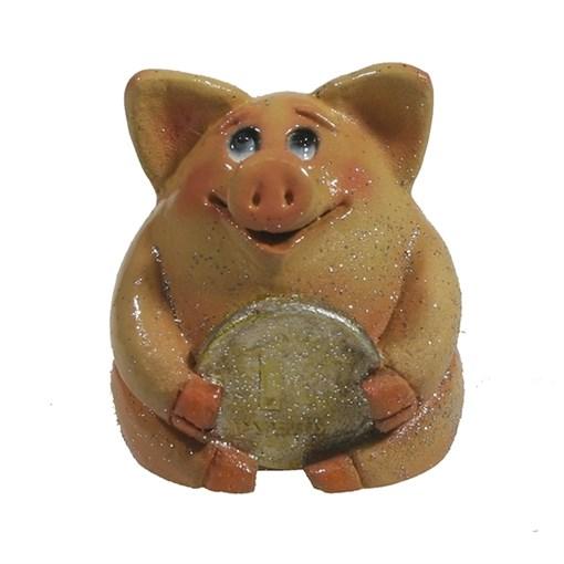 Фигура декоративная Свинка рубль бережет розоваяL4.5W5H5см - фото 69913
