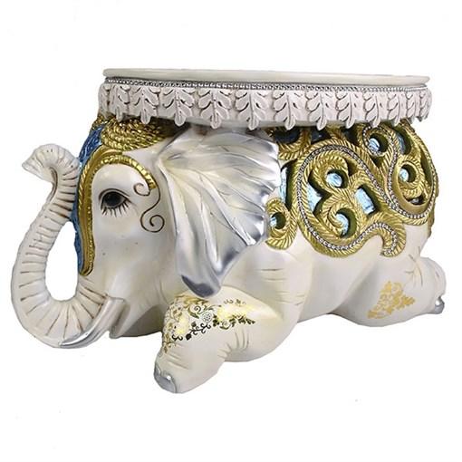 Изделие декоративное Слон с голубыми вставками L55W22H32см - фото 69962