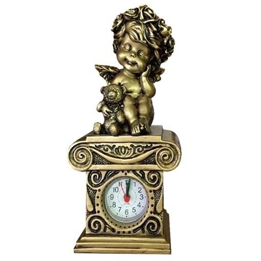 Композиция время Ангелочек с медведем цвет: сусальное золото Н24см. - фото 88374