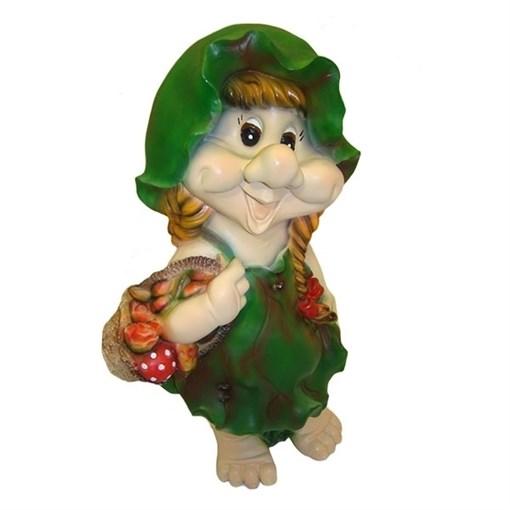 Фигура декоративная садовая Гном-девочка в листочке L27W20H49 см - фото 88389