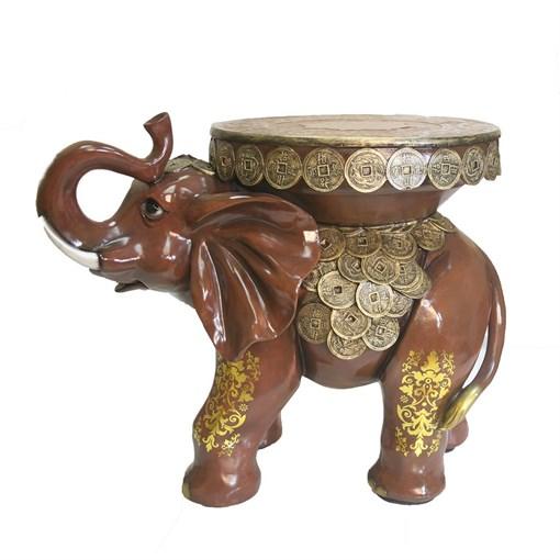 Фигура декоративная Слон с монетами цвет: красное дерево L53W32H43см - фото 88486