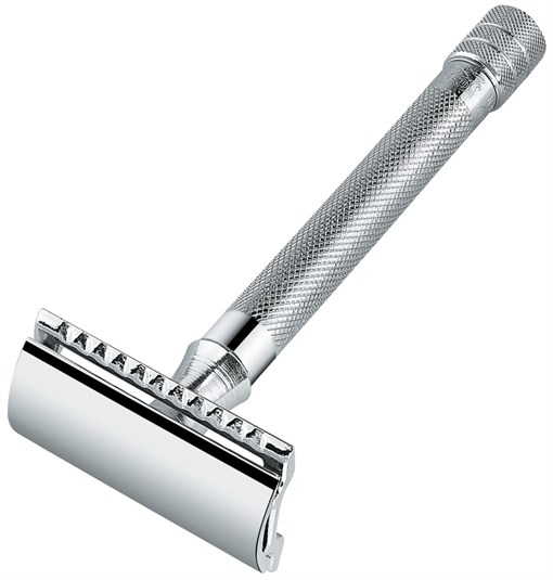 Станок Т- образный для бритья хромированный, с удлиненной ручкой, лезвие в комплекте (1 шт) Merkur 9 - фото 95083