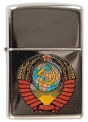 зажигалка Герб СССР High Polish Chrome, латунь,ник.-хром.покр.,серебр.,глянц.,36х56х12мм - фото 95803