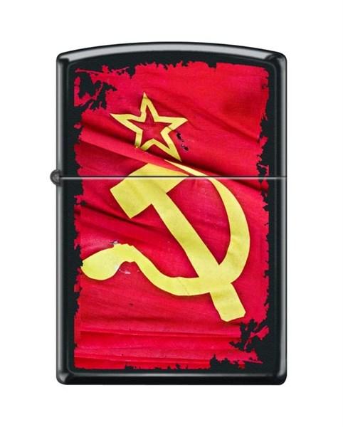 Зажигалка Серп и Молот Зиппо (Zippo) 218 SOVIET FLAG SICKLE - фото 95867