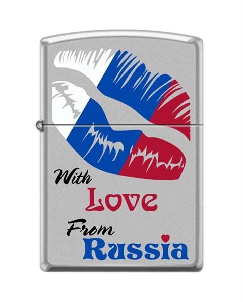 Зажигалка Зиппо (Zippo) 205 WITH LOVE FROM RUSSIA - фото 95881