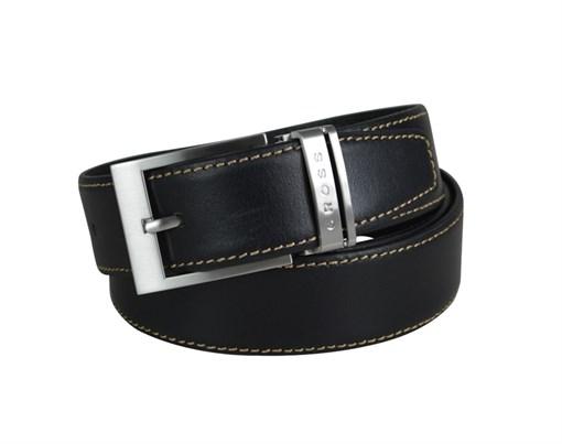 Ремень Cross Pamplona Black, односторонний, кожа гладкая, цвет чёрный с бежевой строчкой, 126 х 3,5 - фото 98886