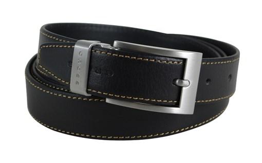 Ремень Cross Pamplona Black, односторонний, кожа гладкая, цвет чёрный с бежевой строчкой, 126 х 3 см - фото 98887