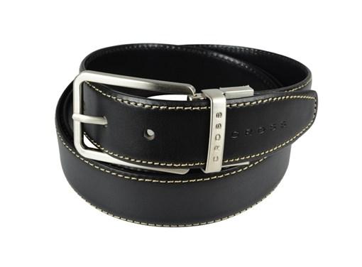 Ремень Cross Pamplona Black, односторонний, кожа гладкая, цвет чёрный с бежевой строчкой, 126 х 3,5 - фото 98892