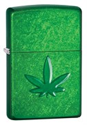 Зажигалка для трубок Зиппо (Zippo) Pipe с покрытием Meadow™, латунь/сталь, зелёная, глянцевая, 36x12x56 мм