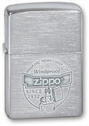 Зажигалка Зиппо (Zippo) Since 1932, с покрытием Brushed Chrome, латунь/сталь, серебристая, 36x12x56 мм