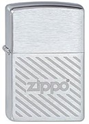 Зажигалка Зиппо (Zippo) Stripes, с покрытием Brushed Chrome, латунь/сталь, серебристая, матовая, 36x12x56 мм