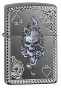 Зажигалка ZIPPO Armor® с покрытием Black Ice®, латунь/сталь, чёрная, глянцевая, 36x12x56 мм