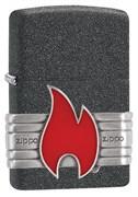 Зажигалка Зиппо (Zippo) Classic с покрытием Iron Stone™, латунь/сталь, серая, матовая, 36x12x56 мм
