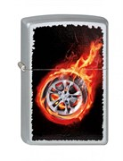 Зажигалка Зиппо (Zippo) Tire On Fire, с покрытием Satin Chrome™, латунь/сталь, серебристая, 36x12x56 мм