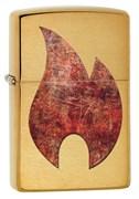 Зажигалка Зиппо (Zippo) Rusty Flame с покрытием Brushed Brass, 29878