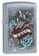Зажигалка Зиппо (Zippo) Vintage Tattoo с покрытием Street Chrome™, 29874