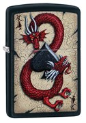 Зажигалка Зиппо (Zippo) Dragon Ace с покрытием Black Matte, 29840