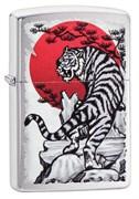 Зажигалка Зиппо (Zippo) Asian Tiger с покрытием Brushed Chrome, 29889