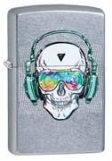 Зажигалка Зиппо (Zippo) Skull Headphone с покрытием Street Chrome™, 29855